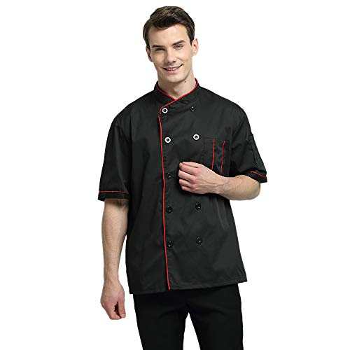 - TOPTIE Short Sleeve Chef Jacket Kitchen Cook Coat Stripe Uniforms-Black-L