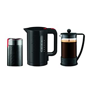 Bodum K10938-01US Brazil Set, French Press 8 Cup Coffee Maker, Electric Coffee Blade Grinder & Electric 34 oz. Water Kettle, , Black