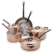 Mauviel 6600.1 Jacques Pepin Collection Cookware Pc Set, 10 Piece, Copper