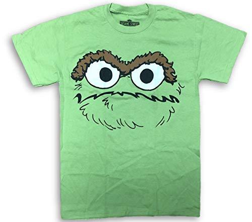 Sesame Street Oscar the Grouch Large Sketch Face Adult T-Shirt Lime Green (Medium)