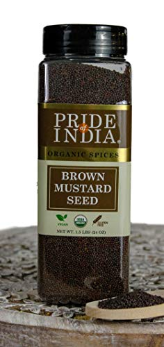 - Pride Of India- Organic Brown Mustard Seed Whole- 24 oz (680 gm) Large Dual Sifter Jar - Authentic Indian Vegan Spice- Best for Pickles, Sausages, Salad dressings etc -Offers Best Value for Money