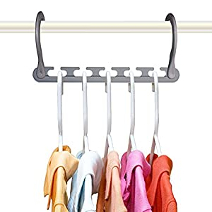 Wonder Hanger Max NEW & IMPROVED, Pack of 10-3x the Closet Space for Easy, Effortless, Wrinkle-free Clothes, Comes Fully Assembled, Grey