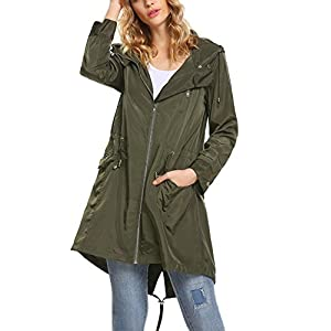Zeagoo Womens Packable Hooded Waterproof Active Outdoor Windbreaker Rain Jacket,Army Green,L