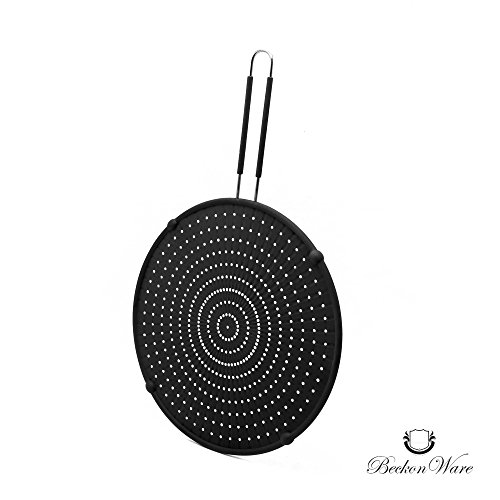 Splatter Screen -Multi Use 4 In 1 Silicone Pan Cover, Strainer, Cooling Mat, Drain Board, 13 Inch, 99% Oil Splash Guard For Cooking & Frying, Stops Hot Oil Splash, Black by Beckon Ware (Strainer Screen)