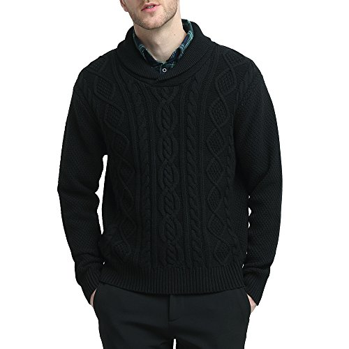 - Kallspin Mens Relaxed Fit Solid Shawl Collar Sweater Pullover Cable Fisherman (Black, L)