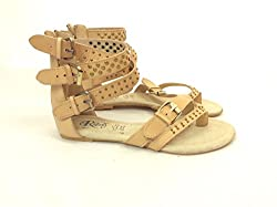 Rebel Jeffrey Studded Strap Leather Gladiator Sandals Tan 6.5M