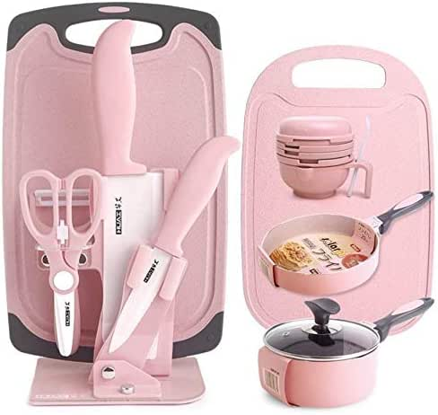 GaoMiTA Children's Cutlery Set, Pink Cute Children's Food Supplement Full Set Of Cutlery, Environmentally Friendly Materials Without BPA And Dishwasher Safe And Healthy Tableware (knives + Grinding Bo
