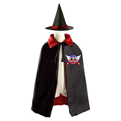 Shadow Sonic Costume (Sonic The Hedgehog With Wings Kids Halloween Party Costume Cloak Wizard Witch Cape With Hat)