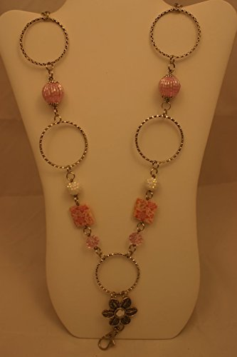 - Beaded Handmade lanyard necklace/ID badge holder with large metal hoops, square pink floral beads, large pink beads and small pink and white beads with a clasp and chain