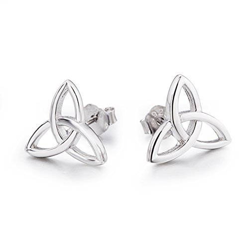 Sterling Silver Knot Earrings (Sterling Silver Celtic Triquetra Knot Stud Earrings (Triangle))