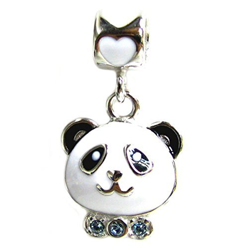 Rhodium-plated Sterling Silver Panda Swarovski Elements Crystal European Style Dangle Bead Charm by Queenberry