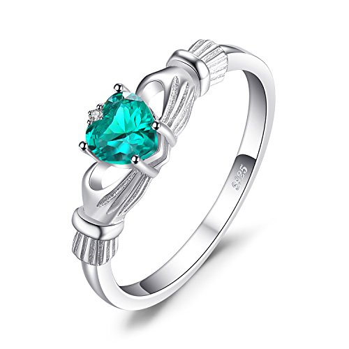 JewelryPalace Heart 0.5ct Irish Celtic Claddagh Simulated Nano Russian Emerald Birthstone Promise Ring 925 Sterling Silver Size 10