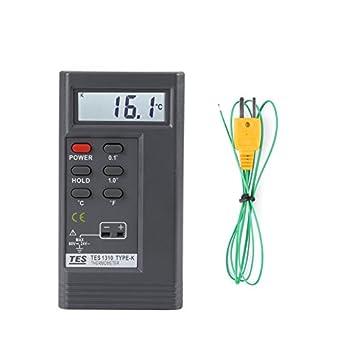 TES-1310 Digital Thermometer Temperature Reader Sensor Tester Meter with K-type Probe,