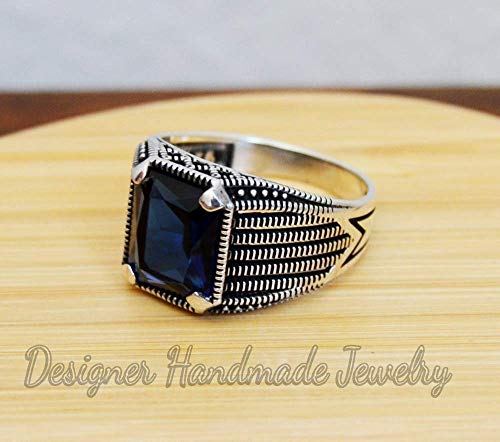 Mens gemstone ring, handmade silver men ring, men ring, blue sapphire ring, gift for him, 925 sterling silver ring, sapphire glass man's ring, father's day ring, men's biker ring (Sapphire Biker Ring)