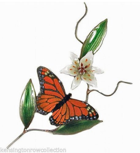 KensingtonRow Home Collection Wall Art - Monarch Butterfly and White Lily Metal Wall Sculpture - Wall Decor