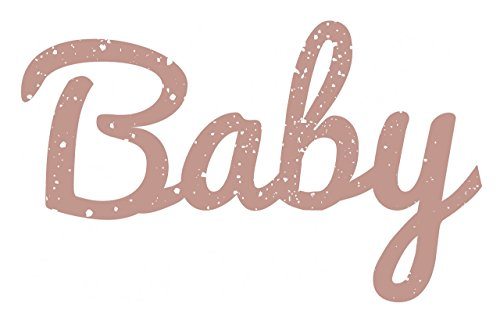 Baby Distressed & Painted Cutout Vintage Wall Monogram Home Decor (Plastic), (Distressed Rose Pink), (12 Inch Tall)