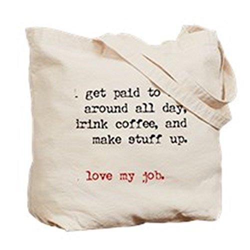 Cafepress–Paid to make Stuff Up–Borsa di tela naturale, tessuto in iuta