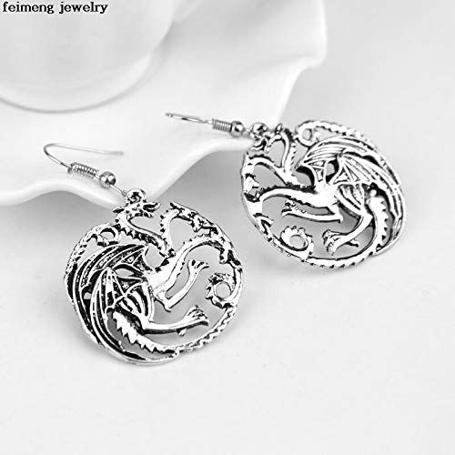 (Game of Thrones House Earrings | Vintage Punk Antique Silver Hollow Dragon Drop Dangle Earrings (20pcs))