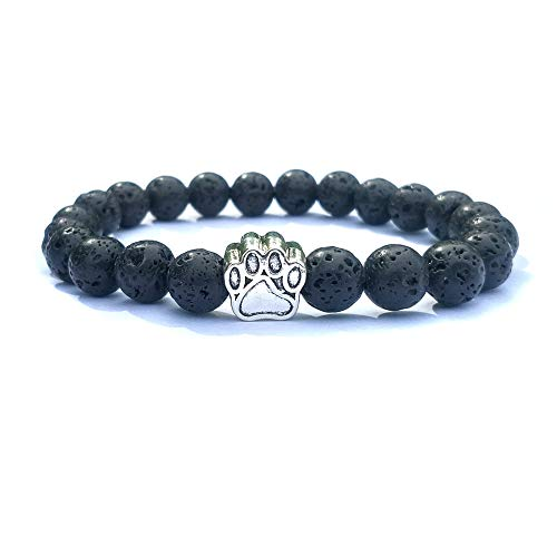 - Dog Paw Charms 8mm Black Lava Stone Sunstone Picture Stone Beaded Bracelet Pet Love Yoga Strand Jewelry