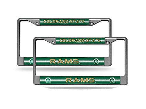 Colorado State Rams NCAA?Glitter Bling Chrome (2) License Plate Frame Set