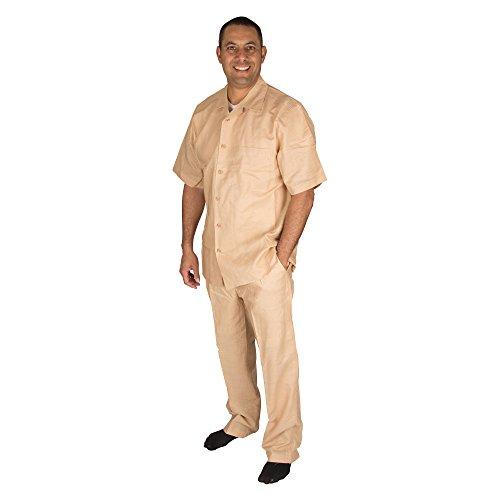 Vittorino Men's 100% Linen 2 Piece Walking Set with Long Pants and Short Sleeve Shirt, Tan, XXXX-Large 48-33