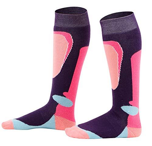 Halconia Girls Merino Wool Ski Socks Full Terry Lightweight Skiing Socks, M