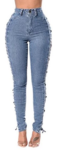 Women's High Waisted Side Bandage Stretch Skinny Distressed Ripped Pencil Jeans