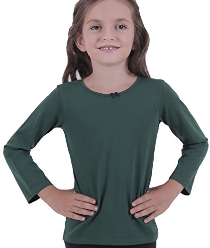 Petite Amelia Little Girls Long Sleeve Bow Tie Top, Size 8, Dark Green ()