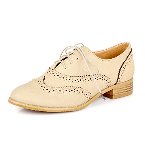 Susanny Women Classic Modern Sweet Low Heel Lace Up Carving Wingtip PU Beige Brogue Oxfords Dress Shoes 10 B (M) US