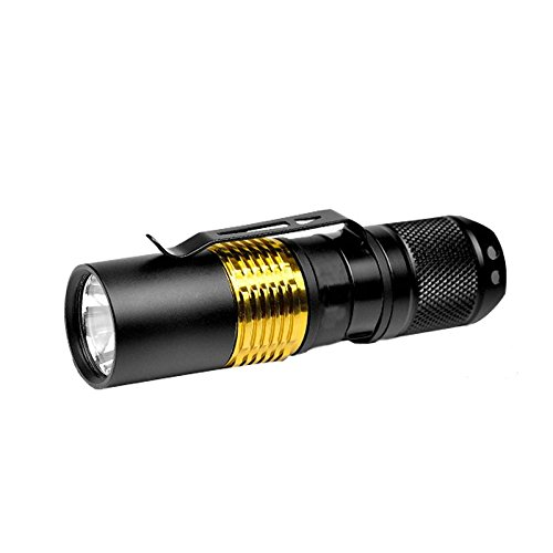 Bronte X16 Superbright handheld Flashlight 610 Lumens CREE XML2 U2 LED 1 CR123 Battery High Power Outdoor Pocket EDC Flashlight 5 Modes for Self-defense with Brass Holder and Reversible Stainless Clip by Bronte (Image #7)