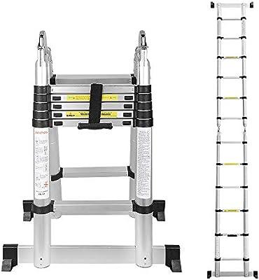wolketon 3,8(1,9+1,9) M Escalera telescópica de Aluminio Fuerte Estabilidad Escalera plegable Escalera alta multifuncional para loft 6+6 Escalones Antideslizantes Carga 150 KG: Amazon.es: Bricolaje y herramientas