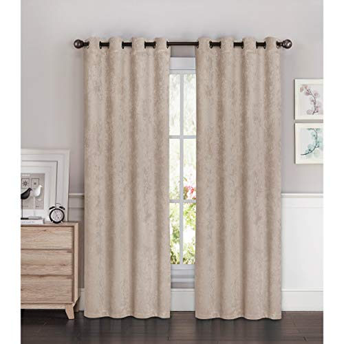 (Window Elements Bella Luna Faux Suede Room Darkening Extra Wide 96-inch Grommet Curtain Panel Pair - 108 x 96 in. taupe)