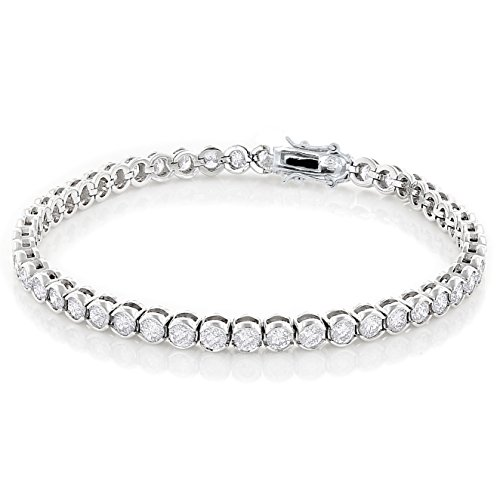 - NYC Sterling Women Spectacular 3mm Round Bezel Design Tennis Bracelet, Measures 7.5 Inches. (Silver)