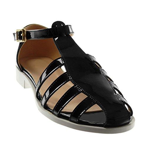 Spartiates Chaussure Bloc CM Talon Femme Cheville 2 Angkorly Noir Doré Boucle Mode Lanière Sandale Verni WfP1wBgq
