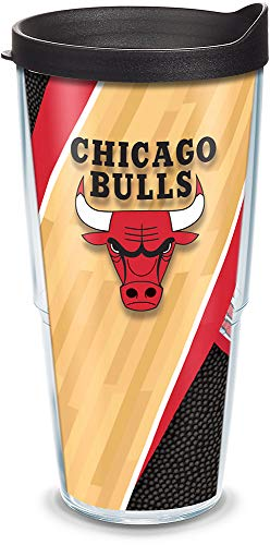 Tervis 1200396 NBA Chicago Bulls Court Tumbler with Wrap and Black Lid 24oz, Clear