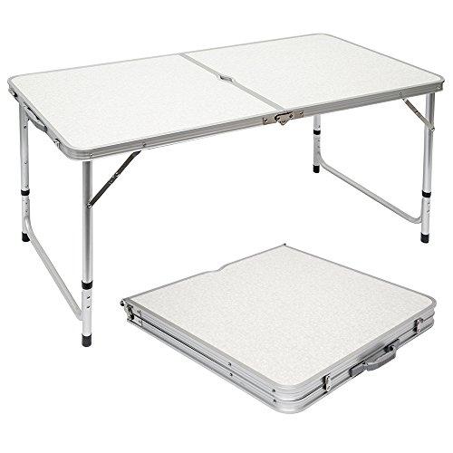 AMANKA Mesa para Acampada 120x60x70cm de Aluminio Plegable portatil como si Fuera un maletin Altura Regulable para picnic Camping Gris Claro