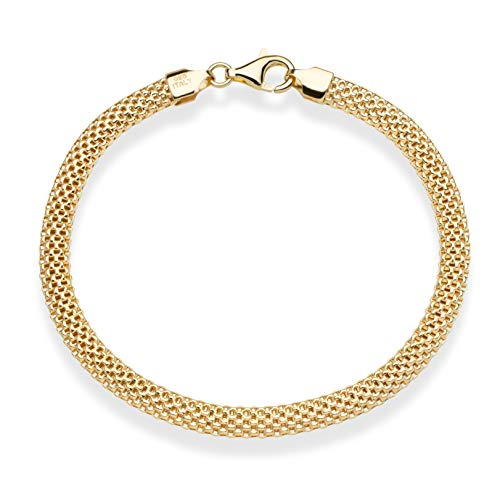 (MiaBella 18K Gold Over Sterling Silver Italian 5mm Mesh Link Chain Bracelet for Women 7