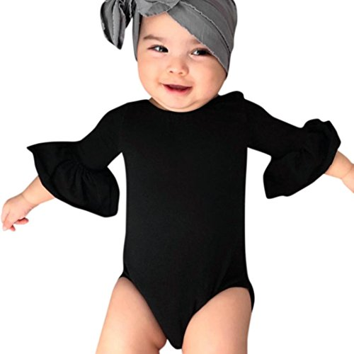 Dinlong Newborn Infant Baby Girls Cute Solid Ruffles Romper Casual Playsuit Clothes Outfits (12-18 M, Black)]()