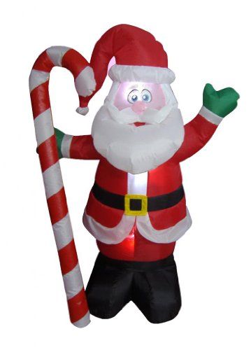 Santa Claus Candy Cane (4 Foot Christmas Inflatable Santa Claus with Candy Cane Indoor Outdoor Yard Decoration)