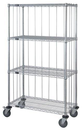 Quantum Storage Systems M2436C47RE 4-Tier Wire Shelving Mobile Cart with 3-Sided Enclosure Using Rod and Tab, Chrome Finish, 80