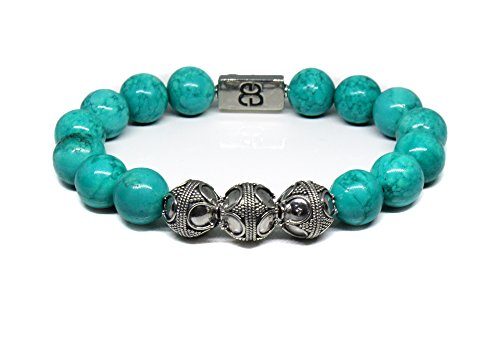 - Men's Turquoise and Sterling Silver Bracelet, Genuine 12mm Turquoise Bracelet, Turquoie and Sterling Silver Bali Beads Bracelet