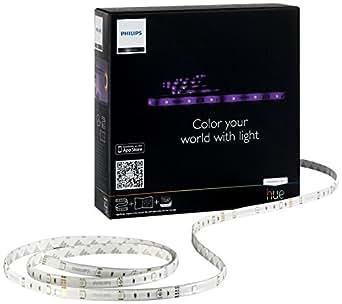Philips Hue Lightstrip Basic Generación 1 - Kit de inicio con tira LED de 2 m y alimentador, controlable vía Smartphone y accesorios Hue, 120 lúmenes, 16 millones de colores, requiere puente Hue