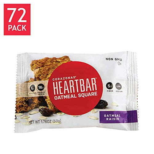 Corazonas Expect More HeartBar Oatmeal Raisin Squares 72 count by Evaxo (Image #3)