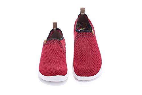 Uin Mens Hobart Ademend Comfort Gebreide Fashion Sneaker Rood