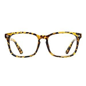 TIJN Unisex Non-prescription Eyeglasses Glasses Clear Lens Square Eyewear Yellow Leopard Frame