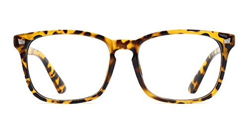 TIJN Unisex Non-Prescription Eyeglasses Glasses Clear Lens Square Eyewear Yellow Leopard Frame
