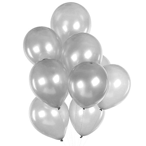 "160 Pack of 12"" Metallic Silver Latex Balloons Bulk by LD Goods"