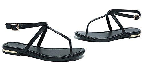 Easemax Femmes Casual Split Orteil Slingback Sandales Plates Noires