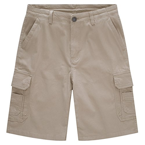 Stretch Khakis Cotton (WenVen Men's Classic Stretch Cotton Cargo Shorts, Khaki, 36)