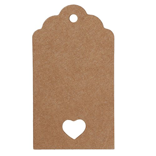 Whitelotous 50 PCs Kraft Paper Gift Tags with String Rectangle Vintage Bonbonniere Favor Gift Tags Craft Hang Tags Wedding Party Tags (4 x 7cm, Brown Hollow heart) - Small Heart Hang Tags